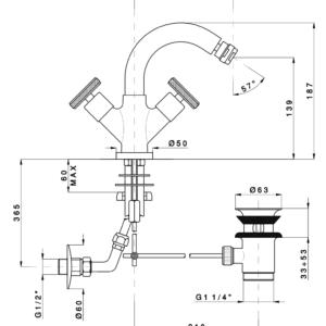 ARENA 3337FV44 смеситель для биде с д/к, черный