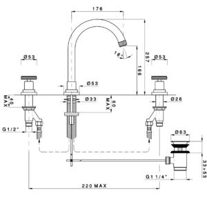 ARENA 3308FV44 смеситель для раковины с д\к, черный