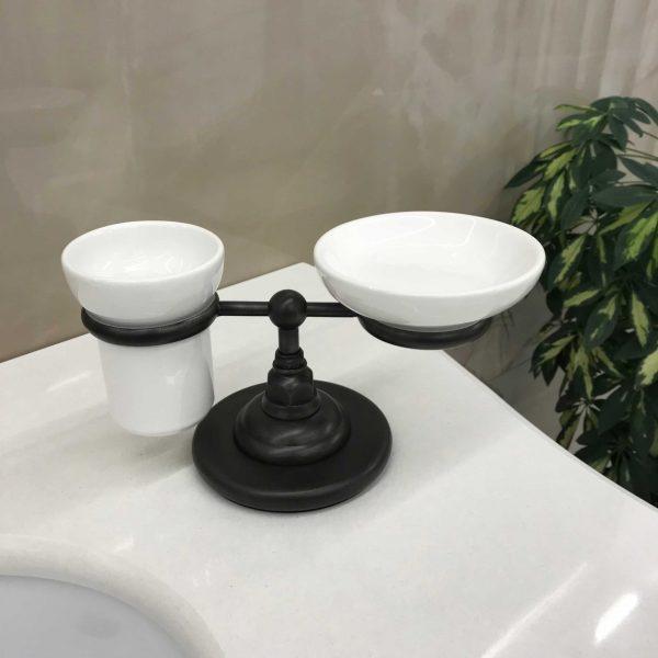 CLASSICI 1494FV настольный держатель двойной, черный (без стакана и мыльницы)