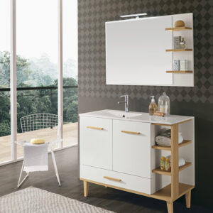 ТУМБА INGRID (FBSIN100-BR) CM 100 NATURAL OAK/WHITE С РАКОВИНОЙ (FTG101SX-B)