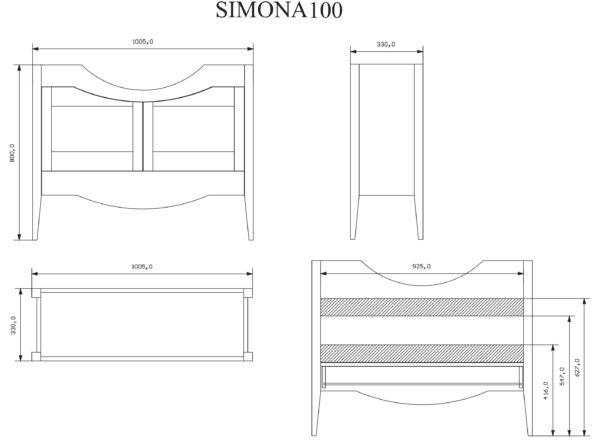 ТУМБА SIMONA (FBSSM100-PG) CM 100 PERGAMON С РАКОВИНОЙ (FPLEB105-B)