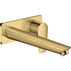 Talis New E 71734990 Смеситель для раковины, однорычажный, настенный, излив 225 мм, полированное золото