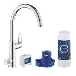 Grohe Blue Pure BauCurve 30385000 Кухонный смеситель однорычажный, 258 мм, с фильтром для питьевой воды, стартовый комплект, хром