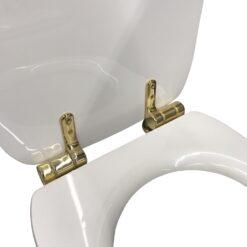 Waldorf 418701 Сиденье с крышкой для унитаза белое, крепления из нержавеющей стали, с функцией SoftClosing, петли золото
